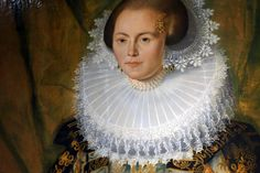 The Dutch Golden Age, the 16th and 17th centuries, was a time when people went to apparently ridiculous lengths to show off their wealth. What was a simple collar became not just a ruff, but a super-duper ruff. This woman's husband must have been a very successful merchant.