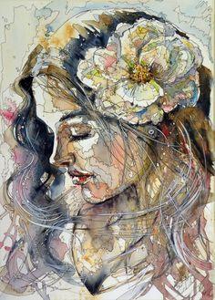 Girl in gold by kovacsannabrigitta.deviantart.com on @deviantART WATERCOLOR
