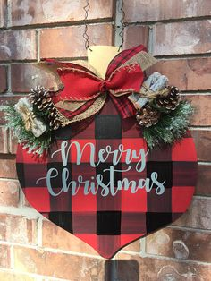 Indoor and Outdoor Christmas Decorations Christmas Door Decorations, Valentine Decorations, Christmas Signs, Outdoor Christmas, Christmas Time, Christmas Wreaths, Xmas, Merry Christmas, Buffalo Plaid Christmas Ornaments
