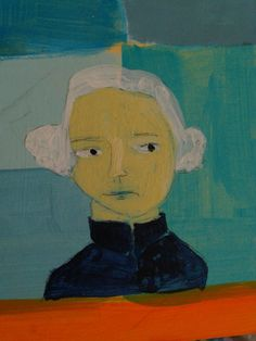 Sarah Hand's painting of George Washington via her blog, Hearts and Needles #friends #sarahhand #painting #art #blue