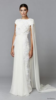 jani khosla 2015 bridal evening dress bateau neckline short sleeves grecian white sheath gown thistle paradise