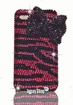 Jersey Bling Luxury Dark PINK ZEBRA Swarovski Crystal & Rhinestone Handmade w/3D Black Bow Iphone 4/4S case/cover:Amazon:Cell Phones & Accessories