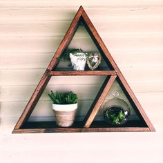 Made from reclaimed wood. W x H Note: each item is one of a kind Custom orders available upon request Woodworking Toys, Woodworking Projects, Triangle Wood Shelf, Geometric Shelves, Wooden Projects, Diy Projects, Handmade Home Decor, Diy Home Decor, Crystal Shelves