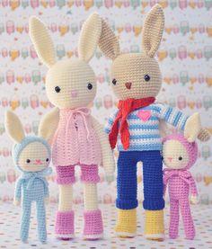 My Crochet Animals By Isabelle Kessedjian Knitted Bunnies, Knitted Dolls, Crochet Dolls, Animal Knitting Patterns, Doll Patterns, Amigurumi Patterns, Handmade Baby, Handmade Toys, Crotchet Animals