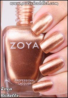 Zoya Richelle coppery foil nail polish