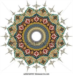 Green, red, grey and brown Arabesque Design with circles in the middle View Large Clip Art Graphic
