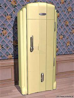 Refrigerator Vintage Fridge, Retro Fridge, Vintage Kitchen, Retro Vintage, Streamline Moderne, Vintage Appliances, Z Arts, Art Deco Furniture, Kitchen Pictures
