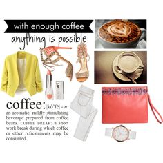 """""""Monday - Coffee Time"""" by busta on Polyvore Featuring the Red Simplicity clutch from BÙSTA #busta #bustabags #leatherclutch #leather #streetstyle #red #embroidery #folklore #handmade #clutch #white #watch #yellow #coffee #office"""