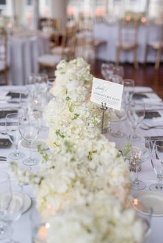 white hydrangea centerpiece, hydrangea table runner, white centerpiece wedding from blue and white wedding at Georgetown Sequoia DC wedding