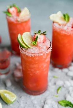 These Strawberry Mint Margaritas are so refreshing and perfect for spring and summer! They're made with a easy mint simple syrup, freshly puréed strawberry juice, tequila, Grand Marnier, and lime juice of course! Pair these with some chips and guac and you're all set! #cincodemayo #margarita #cocktail