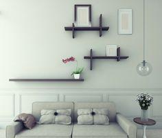 Wanddeko Wohnzimmer: verschieden Modelle von dekorativen Wandregalen aus Holz