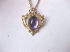 ANTIQUE 10Kt YELLOW GOLD PENDANT:HUGE NATURAL AMETHYST & PEARL,ART NOUVEAU,1900s in Jewelry & Watches, Vintage & Antique Jewelry, Fine, Art Nouveau/Art Deco 1895-1935, Cameos | eBay