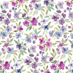 Purple, Plum and Magenta Watercolor Blossoms fabric by micklyn on Spoonflower - custom fabric