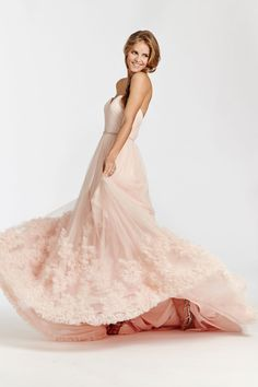 English Net A-line bridal gown with a dramatic textured skirt. Sunburst draped bodice with sweetheart neckline and thin crystal belt at natural waist. Bridal Gowns, Wedding Dresses from Ti Adora by Alvina Valenta - JLM Couture - Bridal Style 7511 by JLM Couture, Inc.