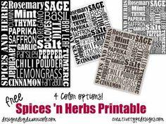 Free Subway Art Printables: Spices