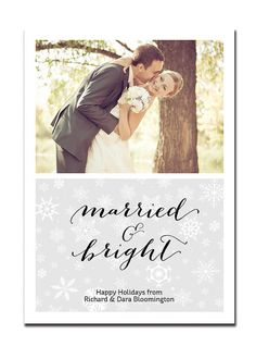 Newlyweds Holiday Card First Christmas Card Married & Bright Couple Snowflake Greeting FREE PRIORITY SHIPPING or DiY Printable - Bloomington Style Available at digibuddha.com