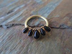 Black Onyx Stone Gold Septum Ring CBR Hoop by BohemianBodyJewellry