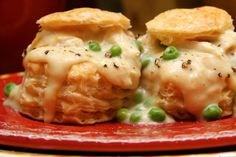 chicken-a-la-king. I'm not vouching for this recipe, but on the great British bake off, Alvin made chicken a la king vol a vents. Sub tuna Turkey Recipes, Meat Recipes, Chicken Recipes, Cooking Recipes, Recipies, Chicken Meals, Bbq Chicken, Kitchen Recipes, Yummy Recipes