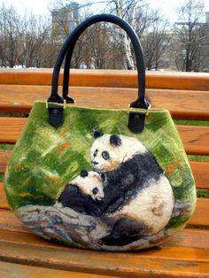 "Felted handbag ""Happy pandas"". $185.00, via Etsy."