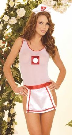 Elegant Moments Lingerie EM42 Provocative nurse teddy in sheer white with red trimming on edges, open back and front red cross print in bust area. A white satin apron with red line insertions and red satin belt is included for a c http://www.MightGet.com/january-2017-12/elegant-moments-lingerie-em42.asp