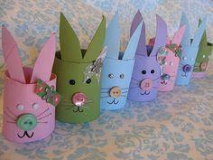 Bunnies from toilet paper rolls. http://mygratitudeattitudes.blogspot.com/2011/03/easter-bunny-craft-from-cardboard-tubes.html #crafts