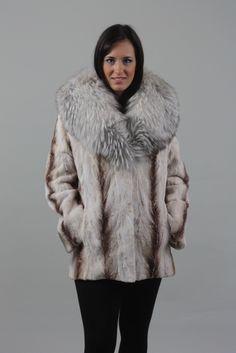Gray Brown Mink Fur Coat Chevron Fox Collar - SKANDINAVIK FUR Brown And Grey, Gray, Mink Fur, Furs, Chevron, Fur Coat, Jackets, Fashion, Down Jackets