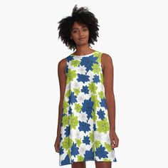 'Echeveria flower in classic blue and lime green ' A-Line Dress by Amanda D-Hay Echeveria, Amanda, Lime, Summer Dresses, Printed, Awesome, Classic, Green, Flowers