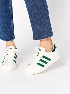 online retailer 98673 d292c Originals Superstar 80s DLX White   Green Sneakers by Adidas Bape, Adidas  Cap, Asos