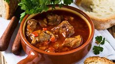 Ingredients 1 kilo and a half boar leg 2 medium onions 8 cloves of garlic 2 bay leaves ½ red pepper 1 ripe tomato 200 ml. of red wine 1 spoon of sugar Salt Black pepper Thyme Extra virgin olive oil Wild Boar, Red Peppers, Food Art, Stew, Slow Cooker, Pasta, Stuffed Peppers, Snacks, Dishes