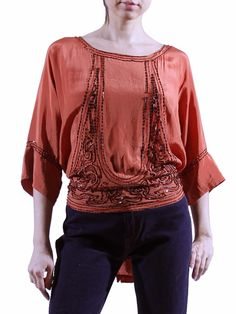 16083259b8aa3b 1920s Vintage Orange Silk Beaded Blouse