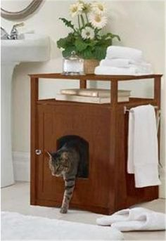 Cat Litter Box Cover!!  I want just the BOX! Then have the supplies set on top of it! This would be in the hall closet!  OH YEAH!!  I think I like this A LOT!