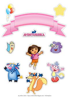 Dora Birthday Cake, Dora Cake, Birthday Bash, Bolo My Little Pony, Bolos Toy Story, Imprimibles Toy Story Gratis, My Little Pony Stickers, Happy Birthday Template, Image Fun