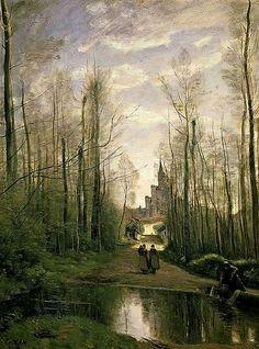 """Painting by Jean-Baptiste-Camille Corot – """"L'église de Marissel, près de Beauvais"""" (1866)"""