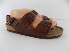 Birkenstock Milano Brown Leather 3 Buckle Sandals Size 41 M8 W10 Excellent #Birkenstock #AnkleStrap #Casual