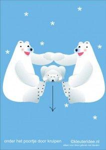 Bewegingskaarten ijsbeer voor kleuters 11 , onder het poortje door kruipen , kleuteridee.nl, thema Noorpool, Movementcards for preschool,  f...