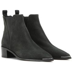 Acne Studios Jensen Suede Ankle Boots ($580) ❤ liked on Polyvore featuring shoes, boots, ankle booties, green, green ankle boots, ankle bootie boots, suede boots, suede booties and suede leather boots