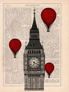 Big Ben and balloons art