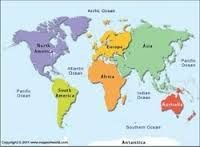 map of 7 continents and 5 oceans | Digital computer graphics map of ...