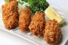 Kaki fry are Japanese breaded and deep fried oysters served with lemon, tartar sauce or tonkatsu sauce. It& in season late autumn through winter. Seafood Dishes, Fish And Seafood, Seafood Recipes, Cooking Recipes, Fish Dishes, Catfish Recipes, Cajun Recipes, Skillet Recipes, Pork Dishes