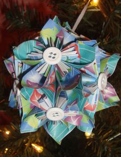 Small Kusudama Flower Ball Ornament Blue w/Flowers by FoldsOfLove, $15.00