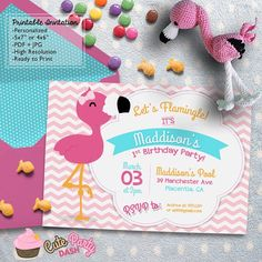 Flamingo Birthday Party Printable invitations by CutePartyDash