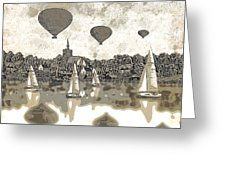 Boats And Balloons Greeting Card by Andrew Hunter