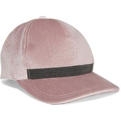 Brunello Cucinelli Embellished velvet baseball cap (3.670 HRK) ❤ liked on Polyvore featuring accessories, hats, pink, velcro hat, pink baseball hat, baseball cap hats, pink ball cap and adjustable baseball hats