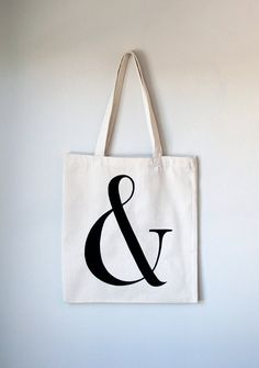 Ampersand Canvas Tote Bag  Hand Lettered by typeandtitle on Etsy, $15.00