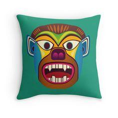 Gorilla ethnic mask throw pillow