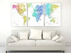Gift for gay couple, rainbow world map prints set.   Personalized world map poster, sent as 3 split posters, in this colorful watercolor style, featuring your favorite quote. We can also add, in the left lower corner, a couple names, a baby name, family name + date...