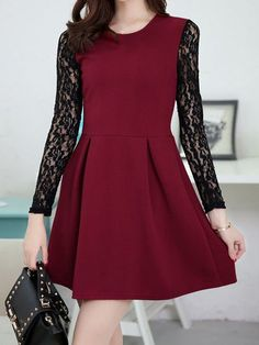 $10.78 Ladylike Round Collar Ruffled Lace Splicing Long Sleeves Dress For Women