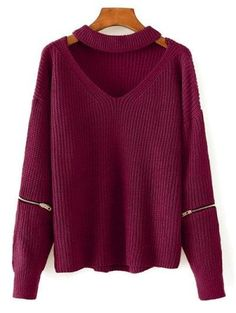 c7ca378aa9 SHARE & Get it FREE | Cut Out Chunky Choker Sweater - Wine RedFor Fashion  Lovers