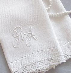 Vintage Linen Towel Monogram