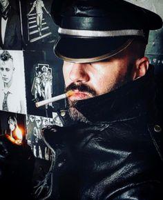 Cigar Men, Man Smoking, Leather Cap, Captain Hat, Smoke, Hot, Leather, Smoking, Acting